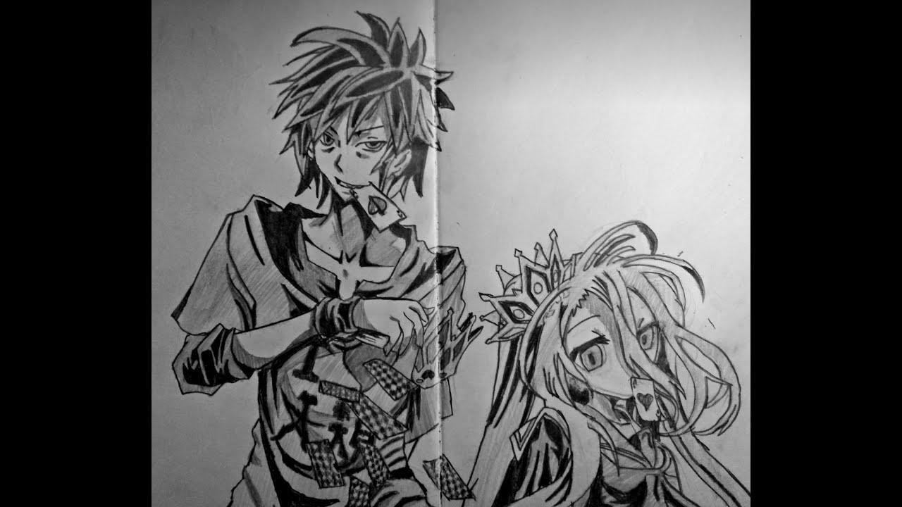 Speed drawing anime Sora and Shiro (No game no life