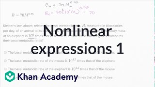 Interpreting Nonlinear Expressions  Basic Example | Math | New SAT | Khan Academy