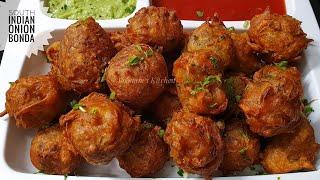 Crispy Mysore Onion Bonda Recipe in Hindi - South Indian Tea Time Snack/ Pakora/ Kanda Bhaji Bonda