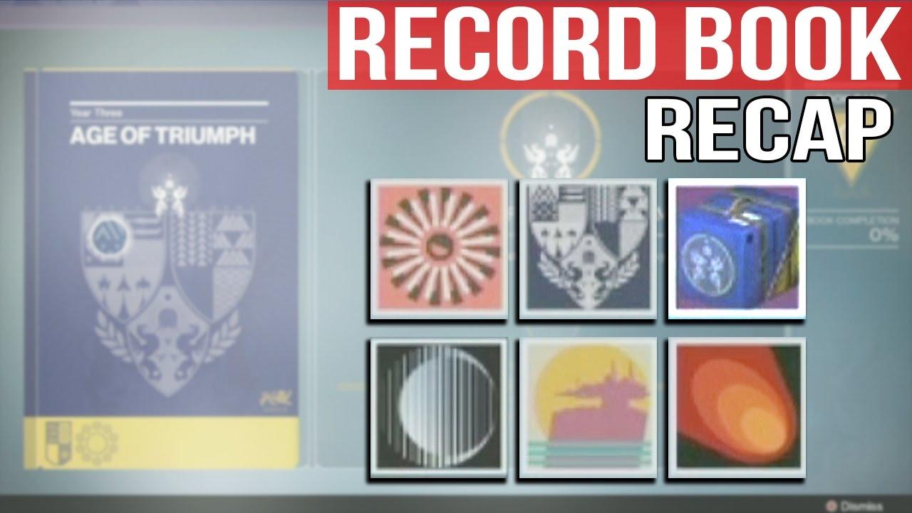destiny age of triumph record book explained & recap! - youtube