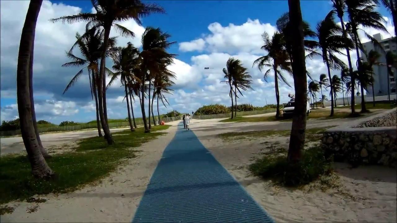 Checking Out The Beach Path Biking On South Walk Miami Florida