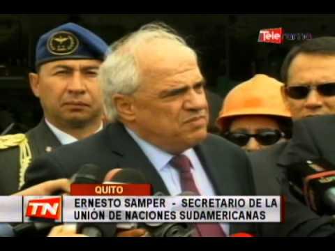 Correa y Samper recorrieron la sede de la Unasur