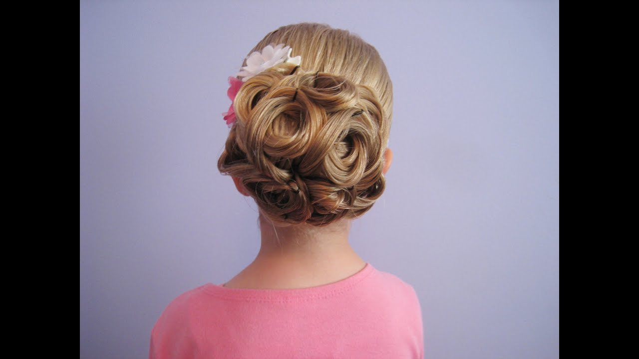Easy Looped Updo  Bridal Prom Flower Girl Hairstyle  YouTube