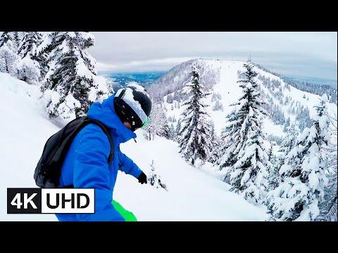 🔥 4K Drone | Extreme Freeride Snowboarding, Backcountry, Powder Riding & Turns | POV & Selfie | UHD