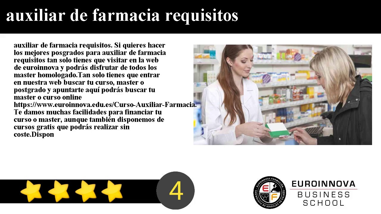 auxiliar de farmacia requisitos - YouTube
