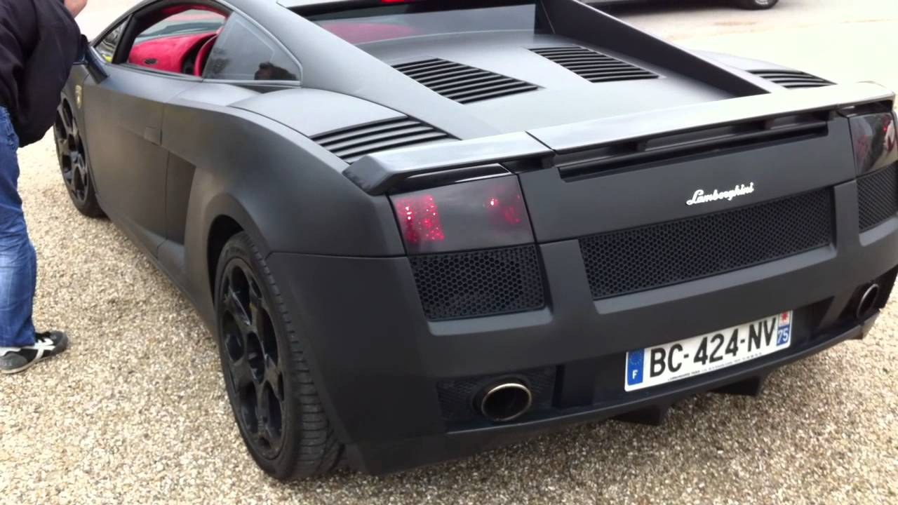 Matte Black Lamborghini Gallardo Start Up + Sound   YouTube
