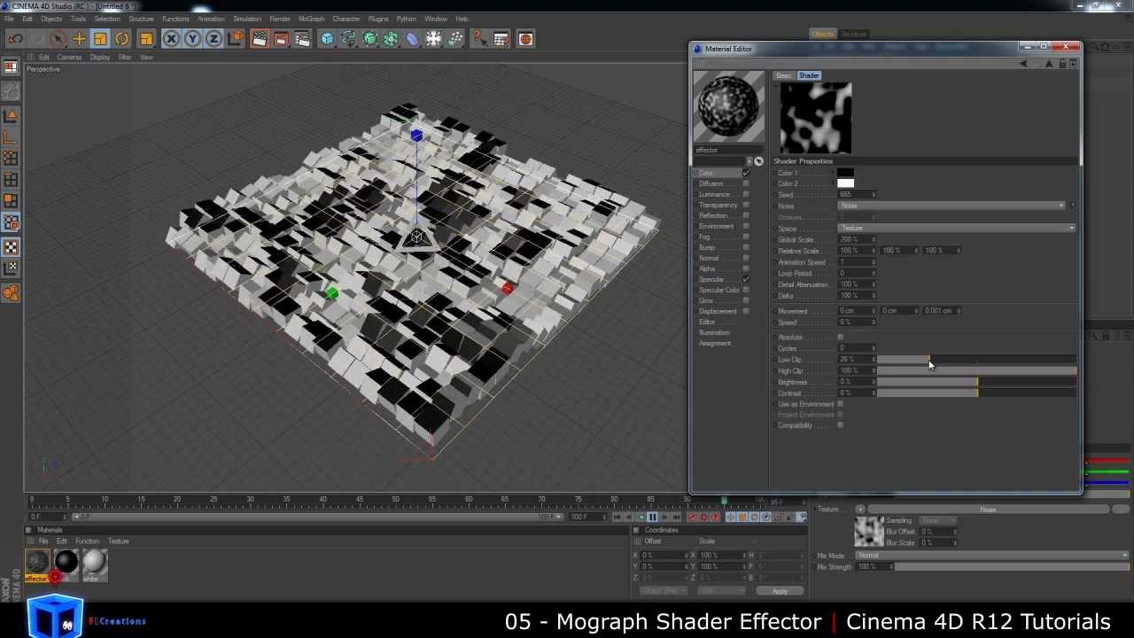 Cinema 4D Tutorial  05  Mograph Shader Effector  YouTube