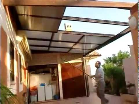 Techo m vil con policarbonato y p rtiga manual youtube - Como instalar un techo de policarbonato ...
