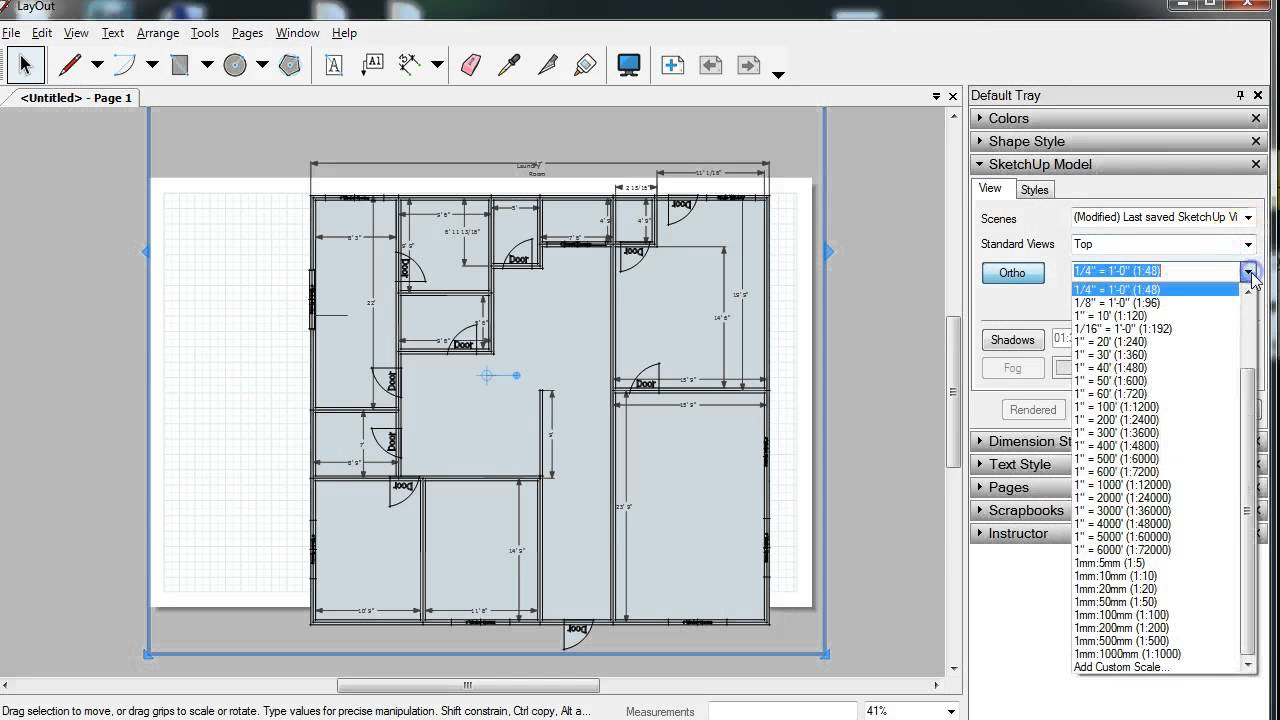 Creating floor plan image file with layout youtube Sketchup floorplan