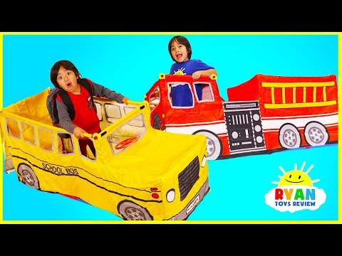 Ryan Pretend play with School Bus Tent and Fire Truck Vehicle