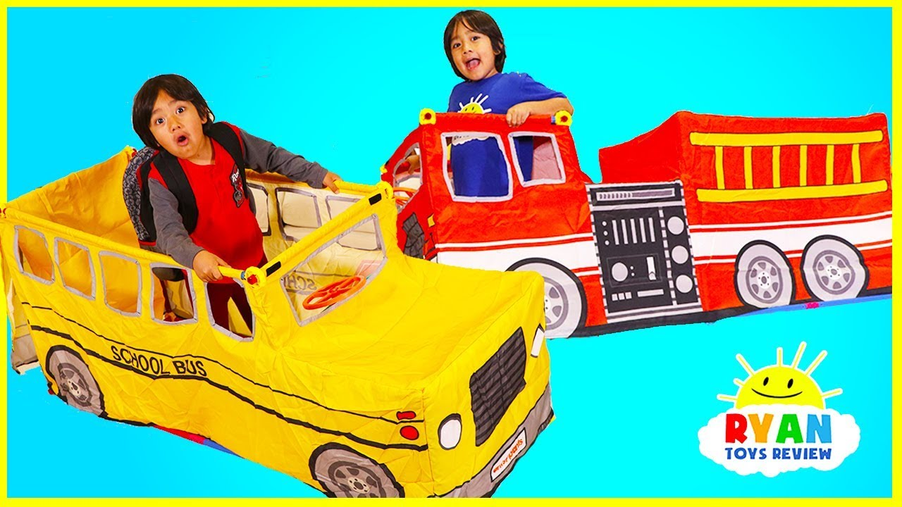 Ryan Pretend play with School Bus Tent and Fire Truck Vehicle  sc 1 st  YouTube & Ryan Pretend play with School Bus Tent and Fire Truck Vehicle ...