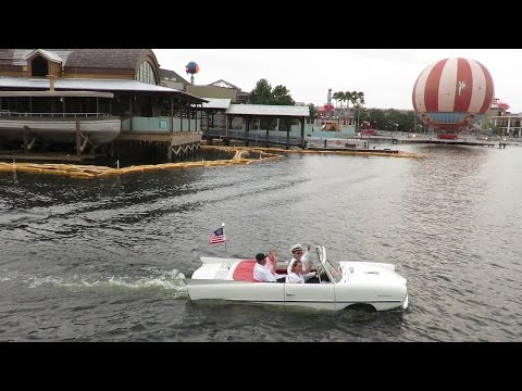 An Amphicar Ride At Sunset At Downtown Disney (Disney Springs)!!!