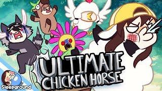 양잠뜰, 라쿤수현, 닭쵸우, 말코아의 좌충우돌 방해전쟁! [스팀 게임: Ultimate Chicken Horse] - [잠뜰]