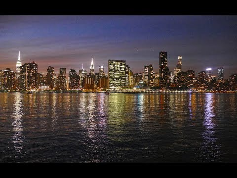 Manhattan Skyline and East River at Night, New York City Waterfront