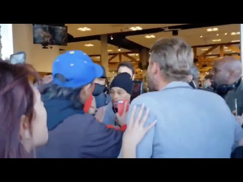 Trump supporters push their way into a store in Los Angeles on New Year's Eve