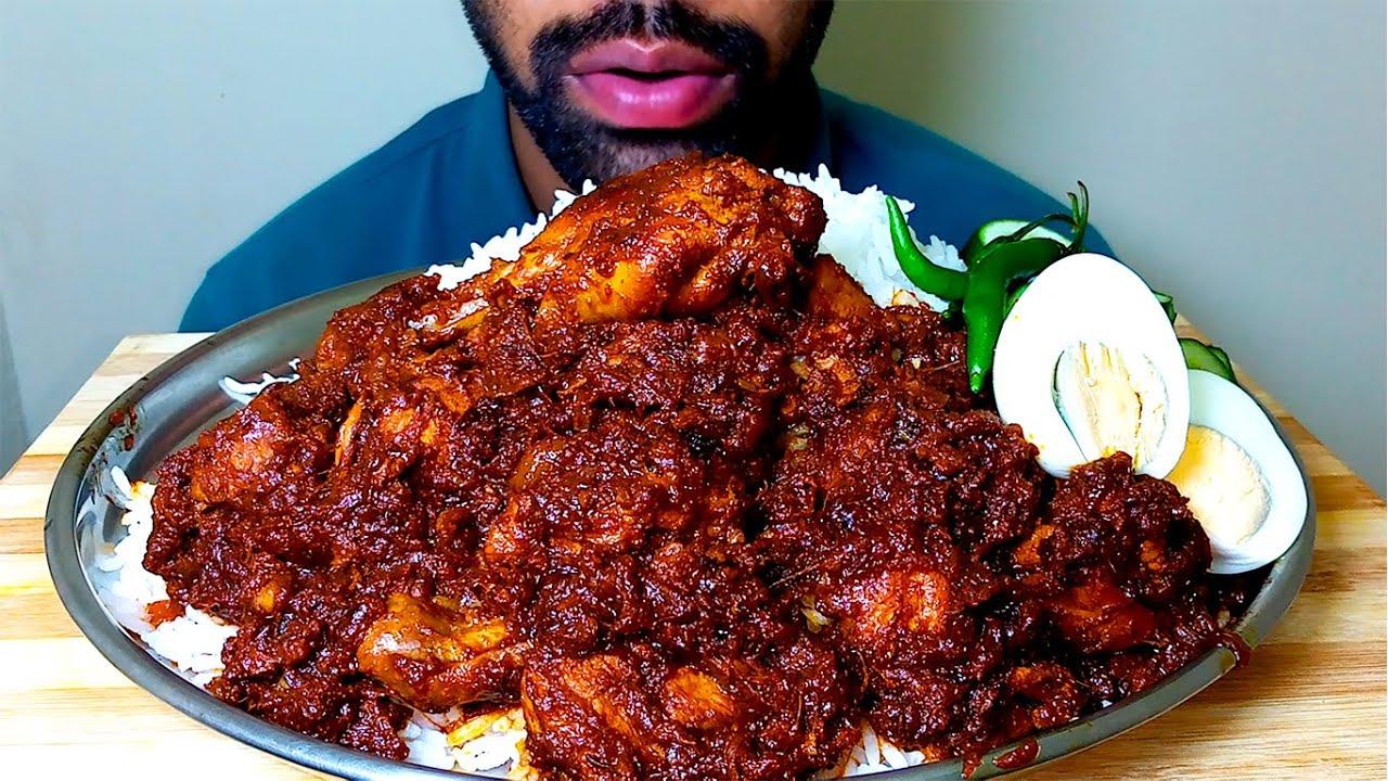 Chicken curry KASHA,Egg+chilli+Rice Eating  #HungryPiran