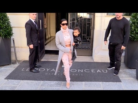 EXCLUSIVE - Kim Kardashian And Little Rock Star North West Leaving Their Hotel
