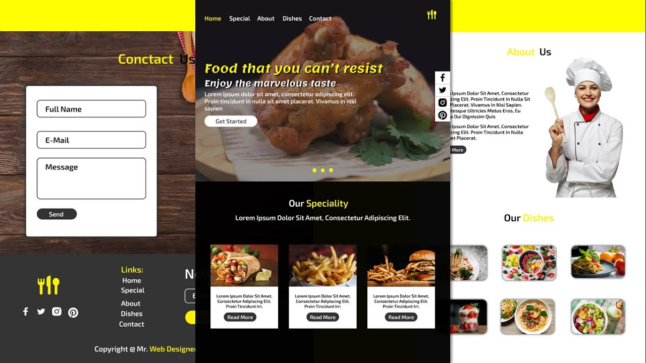 Complete Responsive Food/Restaurant Website Using HTML/CSS/JQUERY/BOOTSTRAP - Step By Step