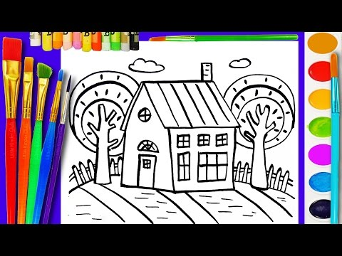 Thumbnail: Teach Drawing to Children House Coloring with Water Color