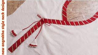 New angaraka style Neck Design with Gotta Patti Lace/latest neck design making with lace