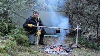 Solo overnight camp on an Australian mountain creek