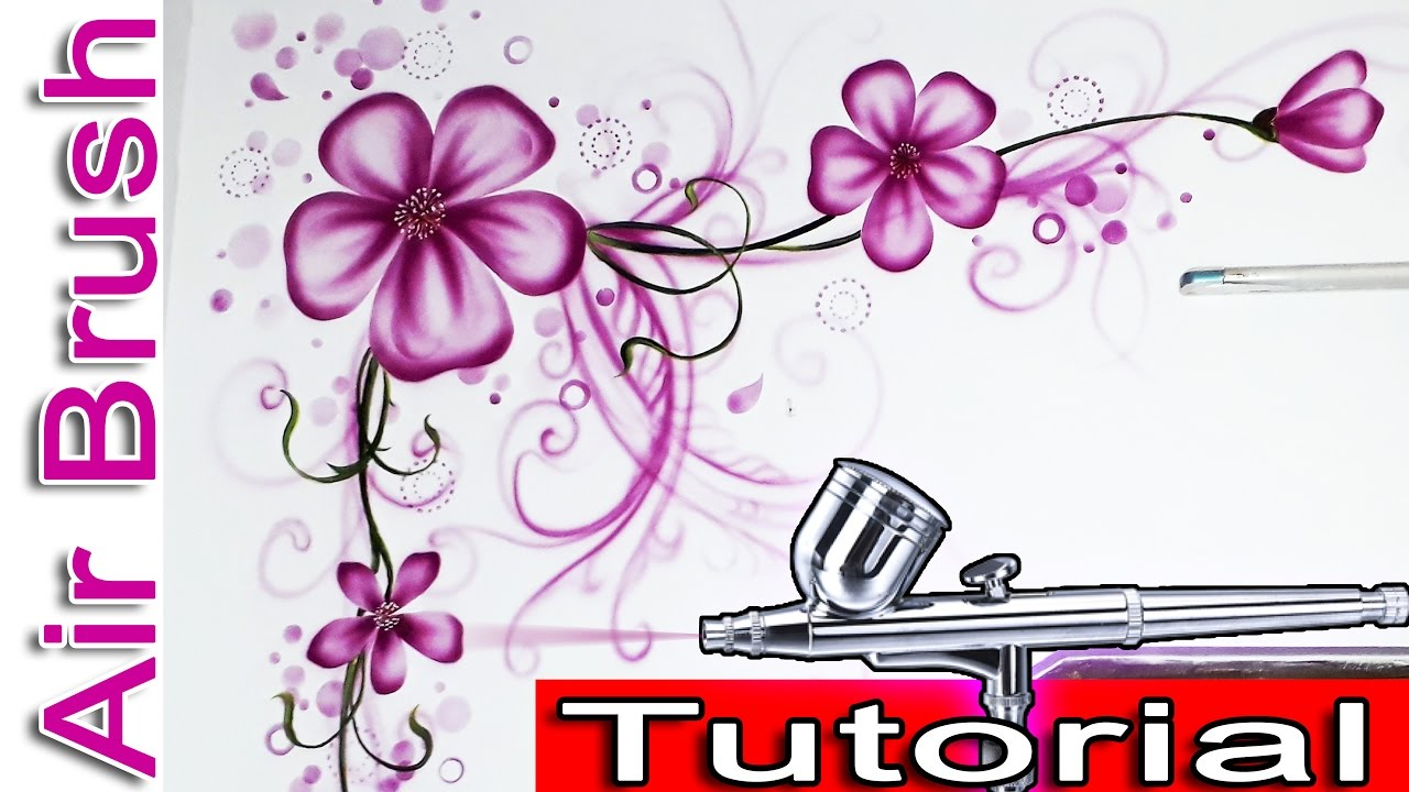 Airbrush Painting Tutorials For Beginners With Stencils Wall Flowers And Fl Design