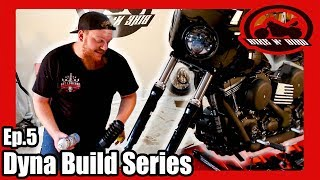 Harley Dyna Build Series Ep.5 - Fork Boots & Tire Lettering