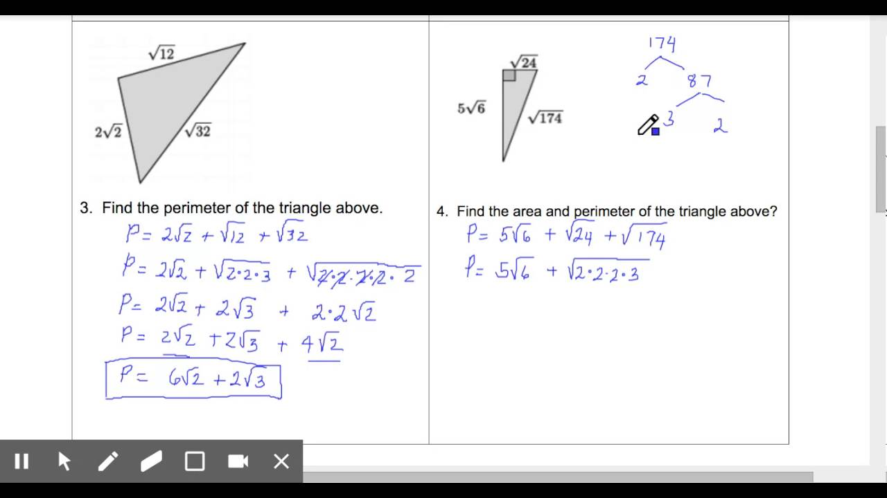 worksheet Area And Perimeter Of A Triangle perimeter of triangles radical side lengths edited youtube edited