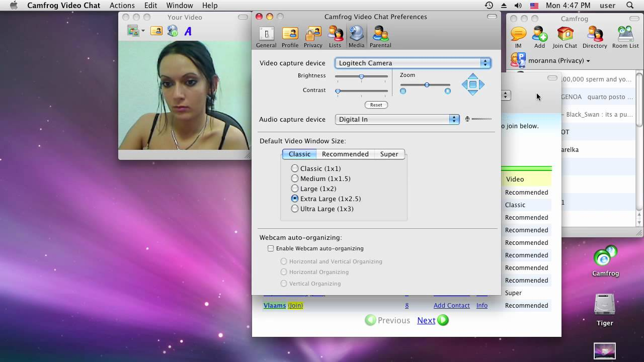 Changing your video source and settings with Camfrog Video Chat (Mac ...