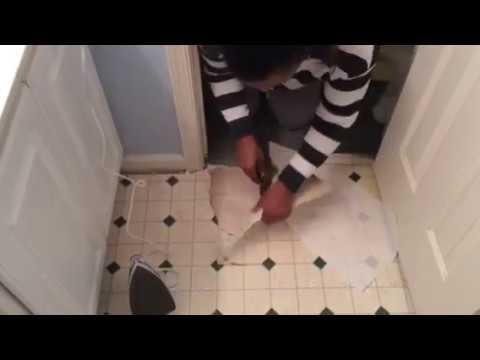how to remove vinyl floor with iron tile bathroom floor youtube. Black Bedroom Furniture Sets. Home Design Ideas
