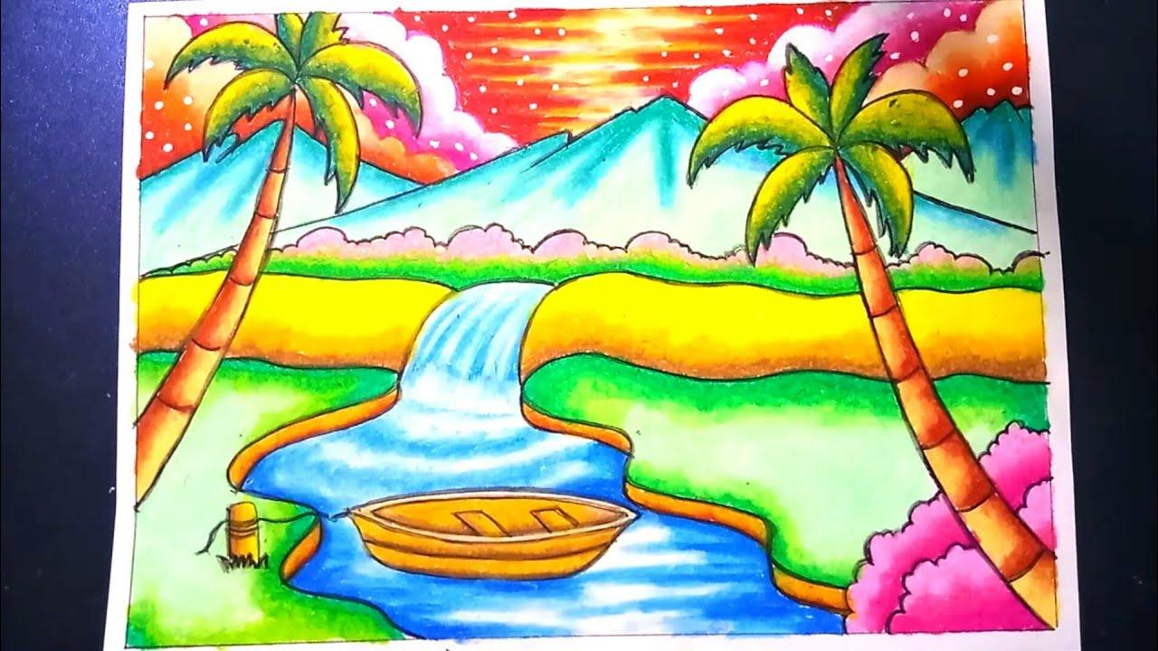 Menggambar Pemandangan Air Terjun Dan Gunung