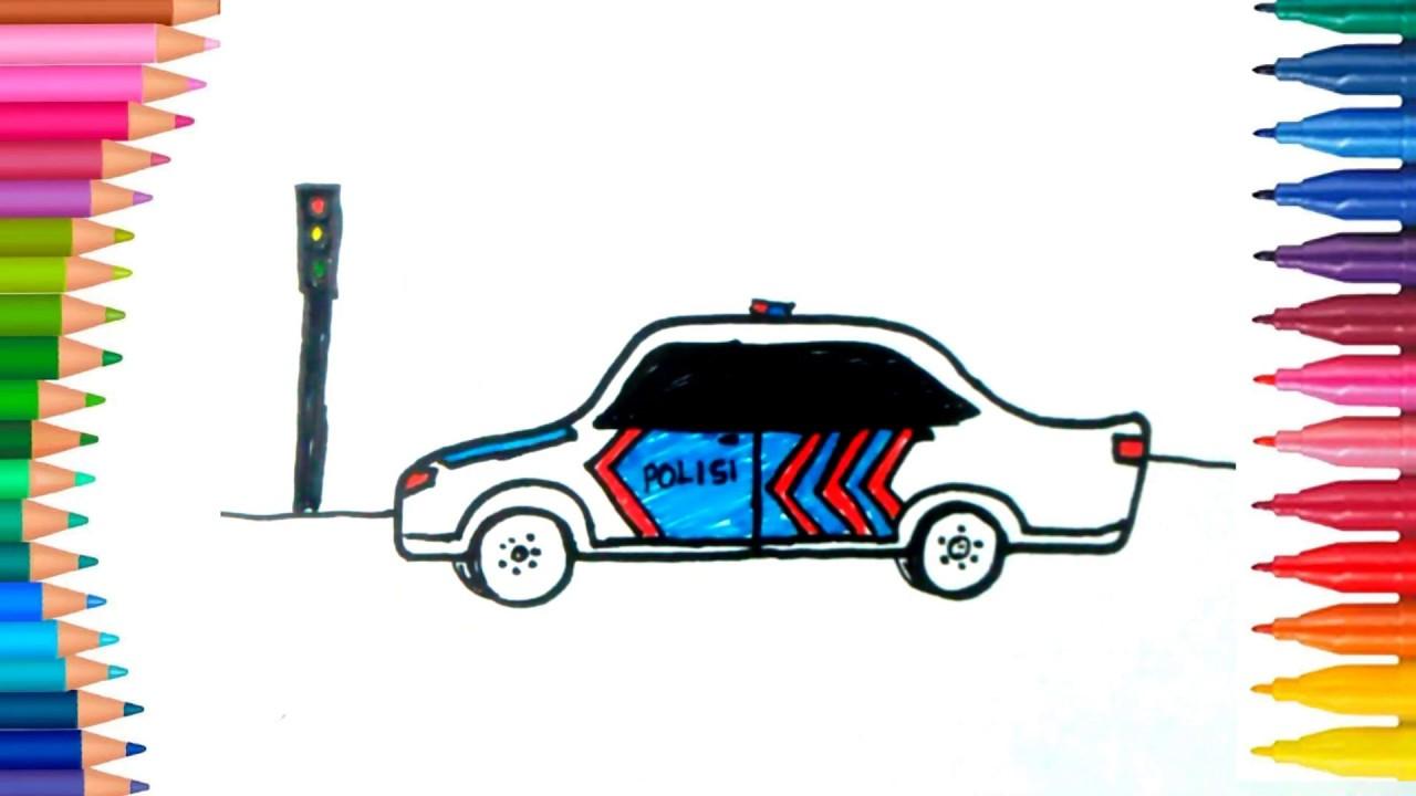 Cara Mewarnai Mobil Polisi - GAMBAR MEWARNAI HD