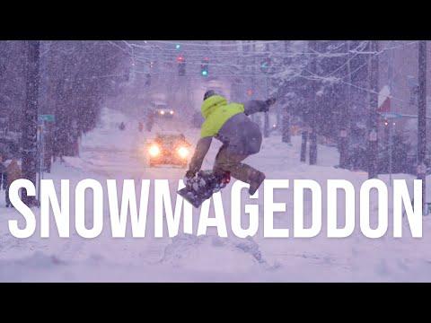 Street Snowboarding in Seattle Snowmageddon