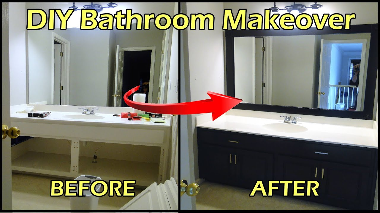 & Bathroom Makeover - Framing Mirror and Painting Cabinets - YouTube