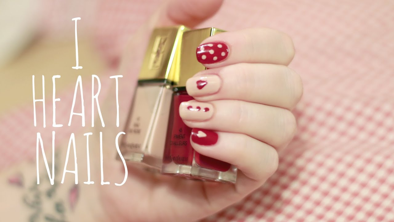 Easy Nail Art Tutorial | Beginners (Hearts & Polkadots) - YouTube