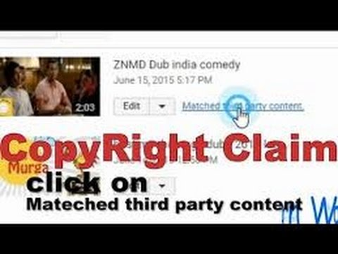 how to remove copyright claims Matched third party content on youtube 2015