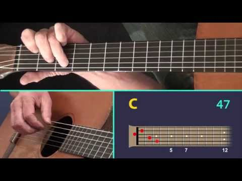Unchained Melody – A Finger Style Guitar Lesson showing the Virtual Fretboard.