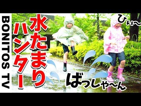 水たまり ハンター チャレンジ!いつもなら怒られる😣 禁止 のアレを やってみた!小学生女子 & 幼稚園児 ♥ -Bonitos TV- ♥