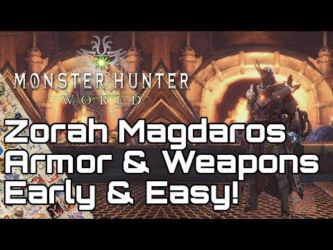 MONSTER HUNTER WORLD! Zorah High Rank Armor, Weapons & Zenny Farm Guide