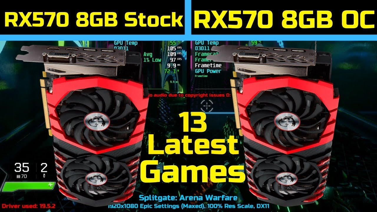 RX 570 8GB Stock vs OC - 2019 |13 Latest Games|1800X | 1080P | Latest Drivers