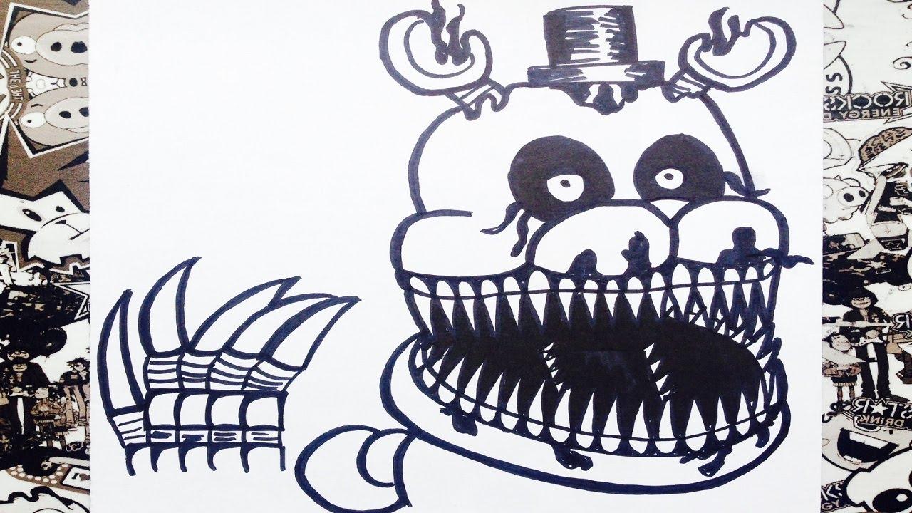 Como dibujar a nightmare de five nights at freddys 4  how to