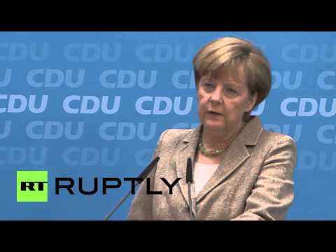 Germany: Merkel says Poroshenko win in Ukraine 'pleasing'