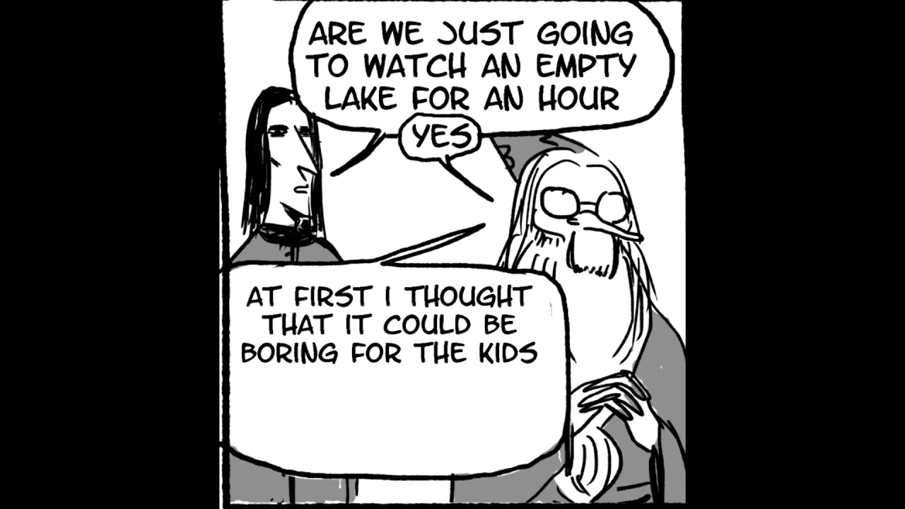 Dumbledore stares at an empty lake