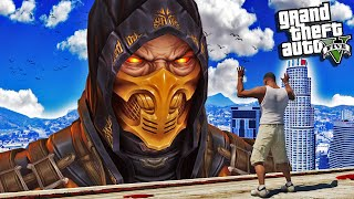"FRANKLIN Meets MORTAL KOMBAT ""SCORPION"" In GTA 5 (Super Fight)"