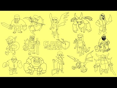 How to draw Clash of Clans characters - Barbarian King, Archer Queen, Wizard, Dragon, PEKKA, Golem