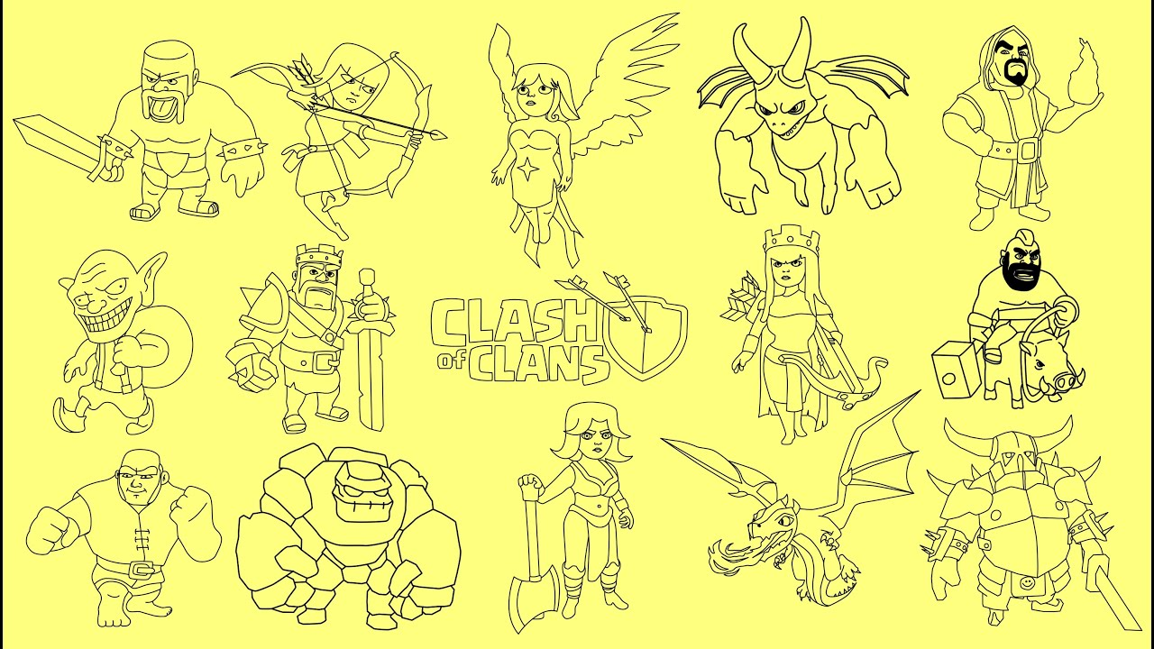 How To Draw Clash Of Clans Characters  Barbarian King, Archer Queen,  Wizard, Dragon, Pekka, Golem
