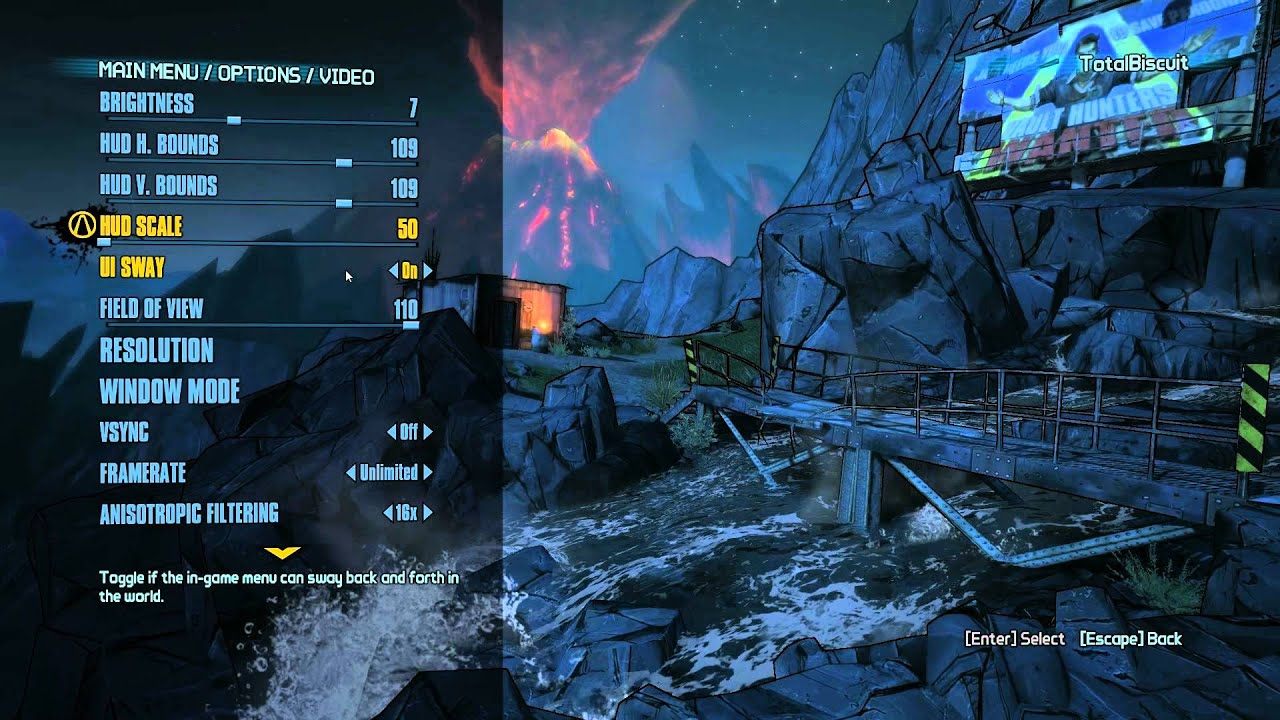 What a PC Options menu is supposed to look like