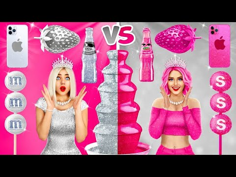 SILVER VS PINK CHALLENGE | 24 Hours Eating Food in PINK and SILVER Color by RATATA BOOM