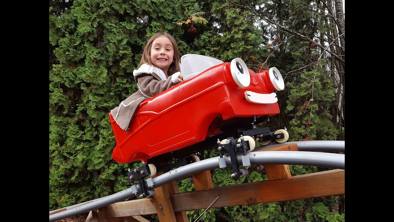 Initial run of the Red Racer backyard roller coaster cart ...