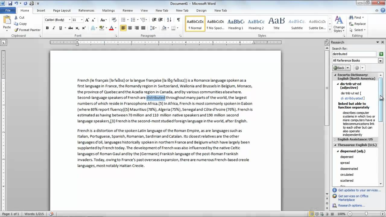 How to look up for words and find translation in microsoft for To function in french